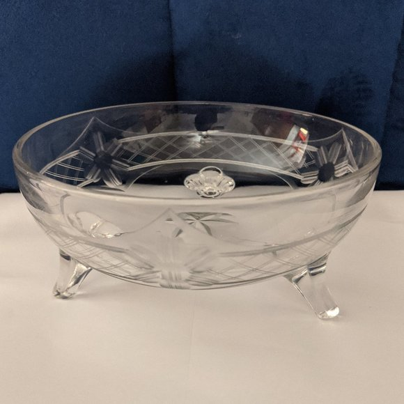 3/$10 Footed Bowl Etched Design Vtg Clear Glass